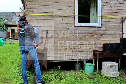 перед началом выполнения фасадных работ дом тщательно измеряется
